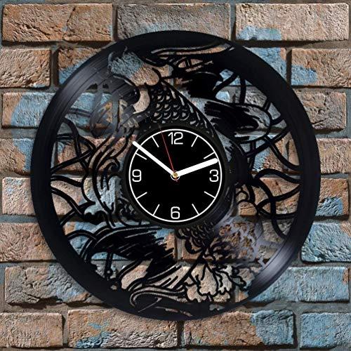 Reloj de pared de vinilo con diseño de peces dorados de 30,48 cm, decoración de peces dorados, regalo de cumpleaños para mujer, reloj de pared moderno, regalo de Navidad para hombre, peces dorados