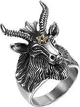 JAJAFOOK Men's Stainless Steel Satan Star of David Ram Worship Baphomet Ram Goat Head Horn Ring 7-14,Silver