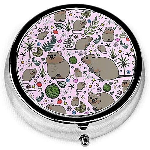 Quokka Party Portable Runde Silber Pillendose Tasche 3 Fach Medizin Fall für Tasche oder Geldbörse