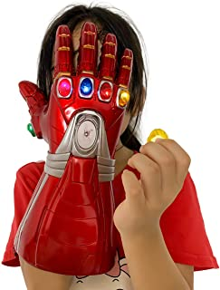 Yacn Iron Man Infinity Gauntlet for Kids,6 Separable Magnet Infinity Stones,Iron Man Gloves Costume,Electronic Fist Halloween Cosplay Props