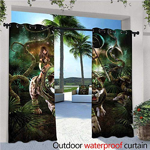 cobeDecor Fantasy World Outdoor Blackout Curtains Graphics of Fantasy Scene with Girl and Saber-Tooth Tiger Magical Plants Galaxy Outdoor Privacy Porch Curtains W120 x L84 Green