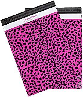 "Poly Mailers Hot Pink Cheetah Print Shipping Envelopes by Inspired Mailers, 14.5x19"", 50 count"