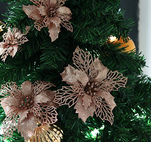 Agoer 24 Stücke Funkeln Weihnachtsstern Blumen, Weihnachten Blumen Dekoration Hochzeit Weihnachtsbaum Neujahr Ornamente mit 20 Haken, Champagner 3 verschiedenen Größen