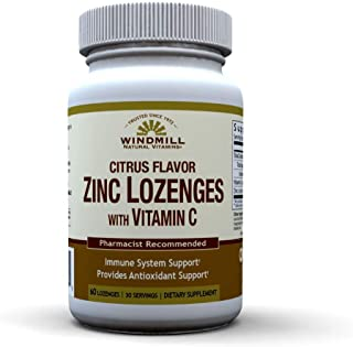 Windmill Health Natural Vitamins Zinc Lozenges with Vitamin C Honey Lemon Flavor, Immune System Support, Provides Antioxid...