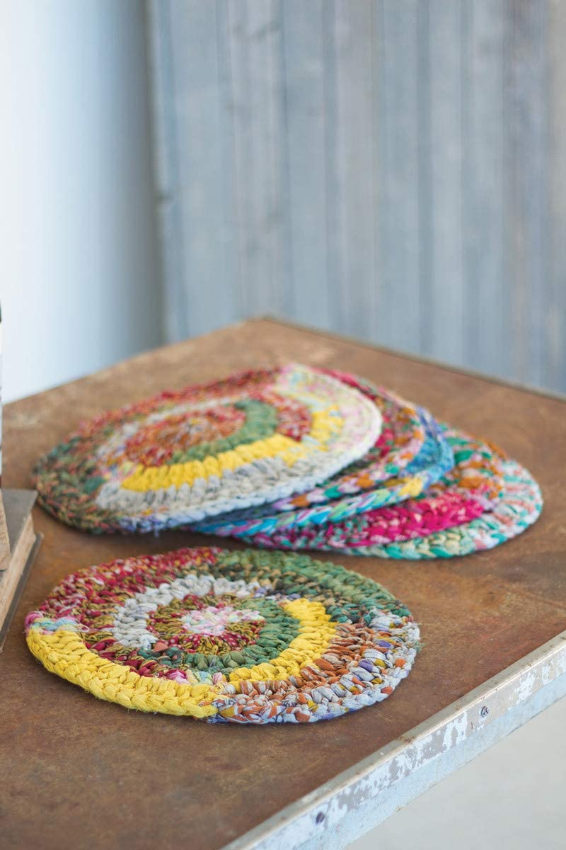 Kalalou Set of Six Kantha Placemats Knitted Round Attention All stores are sold brand