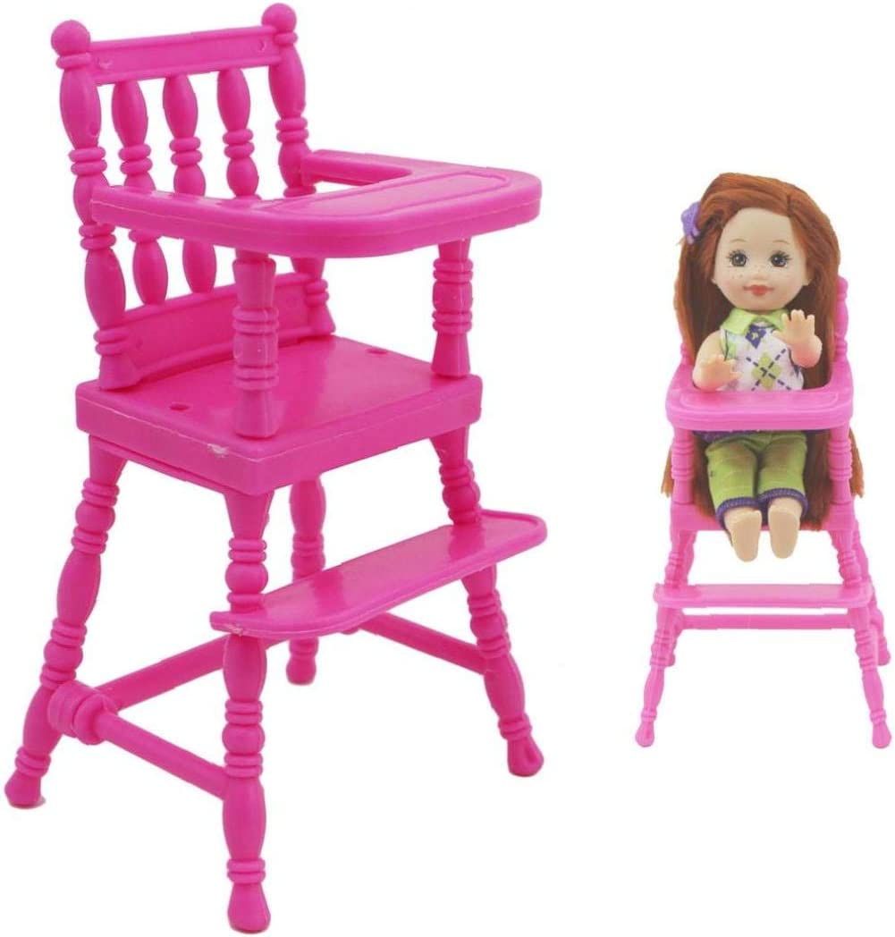 1 Set Pink Assembly High Chair Nursery Furniture Dinner Toys Dollhouse Accessories for Sister 1:12 Toy