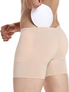 Mens Padded Butt Lifter Underwear Fake Butt Enhancer Shaper Shorts Boxer Briefs with 4 Detachable Butt Pads
