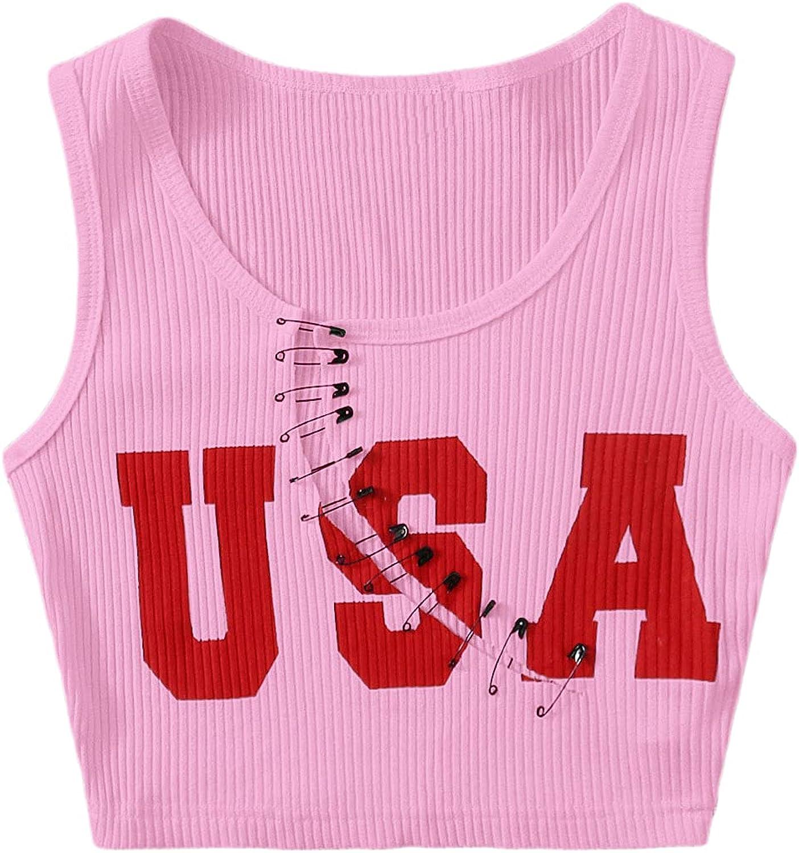SweatyRocks Women's Women's Sleeveless Pin Front Letter Graphic Casual Cool Crop Tank Top
