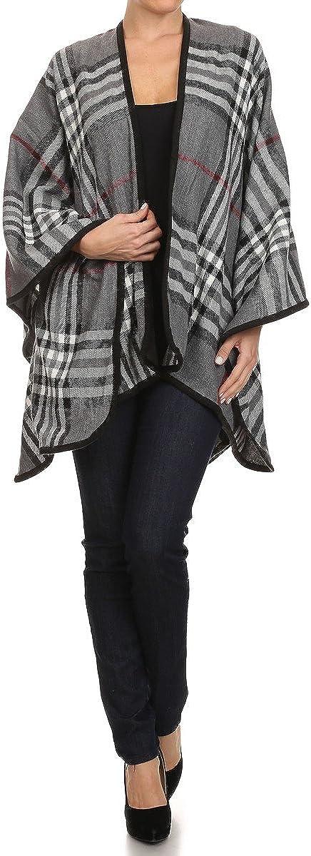 RENEEC. Women Winter Open Front Wearover Knit Wrap Shawl Cape Blanket Sweater Poncho