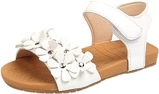 Berimaterry Sandalias con Punta Abierta para Niñas Sandalias Niña Sandalias Romanas Bebé Niña Verano Zapatos Planos Zapatillas de niñas Princesa Sandalias de Playa Crystal Chicas Elegantes Suela