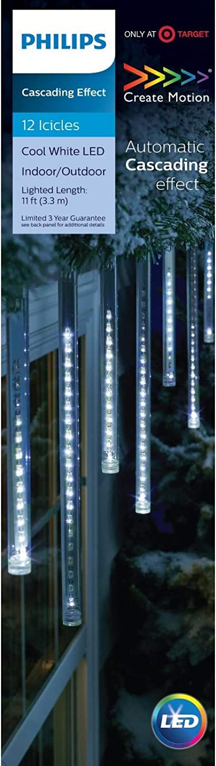 Philips 12ct Cool White LED Cascading Icicle String Lights