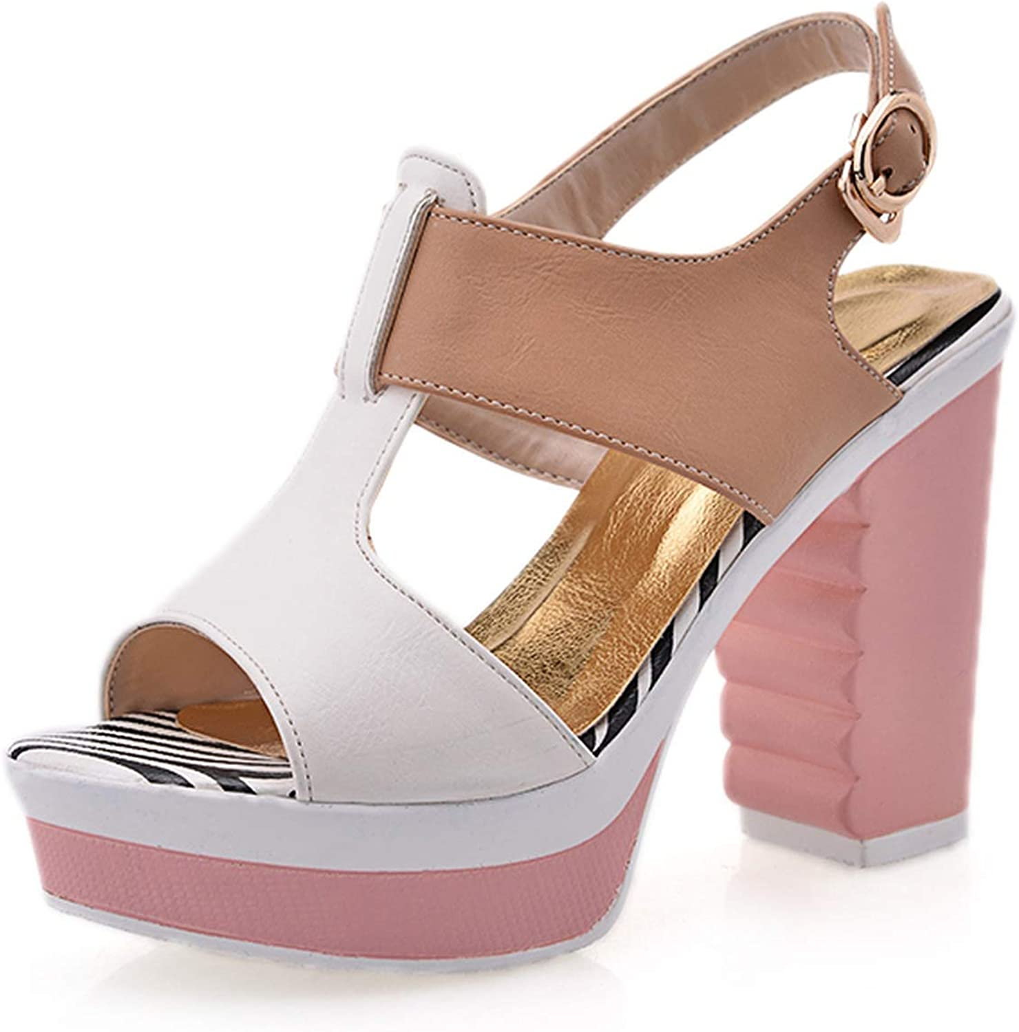 Mo Duo Lady Casual Sandals Pink Beige pu Leather shoes in Summer