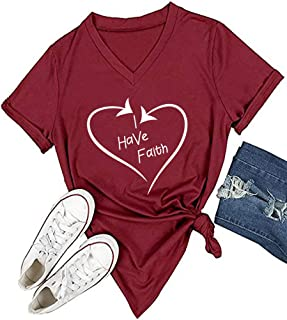 Women I Have Faith V-Neck Graphic T-Shirt Casual Tops Tees