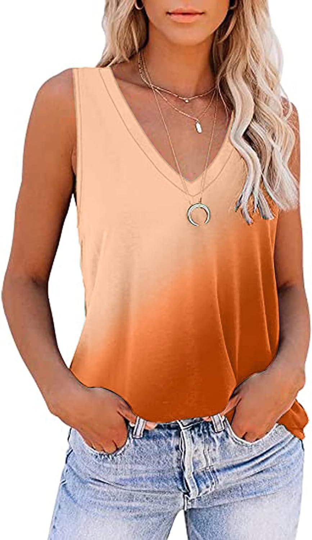 ONHUON Cute Summer Tops for Women,Womens Tie Dye Short Sleeve V Neck Gradient Loose Trendy Tee Tunic