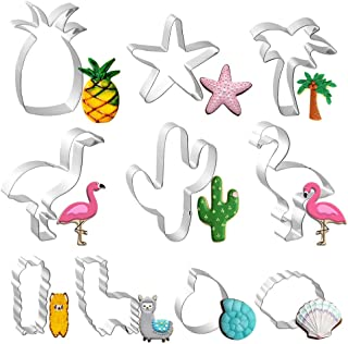 10 PCS Tropical Cookie Cutters Stainless Steel, Hawaiian Cutter Molds for Biscuit, Fondant, Fruit, Bread - Cactus, Llama, Flamingo, Palm Tree, Pineapple, Starfish, Sea Shell