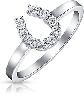 Good Luck Cubic Zirconia Pave CZ Cowgirl Equestrian Horseshoe Ring For Teen For Women 925 Sterling Silver