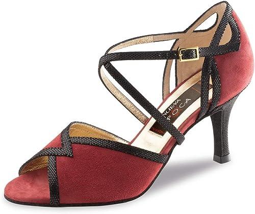 Nueva Epoca Damen Tanzschuhe Matilda - Veloursleder Rot Schwarz- 7 7 7 cm Stiletto - Made in Italy  heiße Rabatte