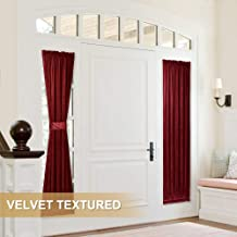 StangH Side Door Window Curtains - Soft Smooth Velvet Privacy Sidelight Panels Glass Door Drapes for Entry Door/Foyer Window Decor, Red, W25 x L72-inch, 1 Pc (Bonus Tieback Included)