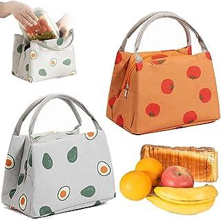 2 Pièces Sac à Lunch Pique Nique, Sac à Lunch Isolé, Bureau Lunch Bag, Toile Imperméable Pliable Espace de Rangement Isolé...