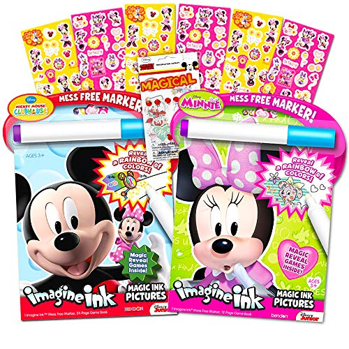 Disney Minnie and Mickey Mouse Imagine Ink Book Bundle with over 100 Stickers and Mess-Free Marker