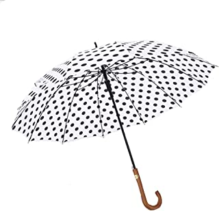 Automatic Golf Umbrella Creative 16 Bone Curved Handle Straight Pole Long Handle Umbrella Wave Point Small Fresh Umbrella Female Umbrella,White