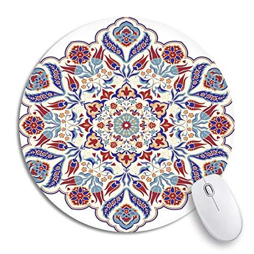HENTIN 7.9 * 7.9 Inch ronde muismat Bloemen Mandala Turkse ronde Kleurrijk in traditioneel Oosters patroon Antislip rubberen basis Muismat Gaming Mousepad