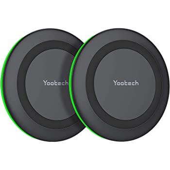 Yootech [2 Pack] Wireless Charger,Qi-Certified 10W Max Wireless Charging Pad Compatible with iPhone SE 2020/11/11 Pro/11 Pro Max/XR/XS/X/8,Galaxy S20/Note 10/Note 9/S10,AirPods Pro(No AC Adapter)