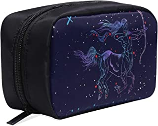 Constellation Zodiac Sign Sagittarius Portable Travel Makeup Cosmetic Bags Organizer Multifunction Case Small Toiletry Bags For Women And Men Brushes Case