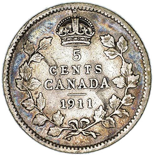 """1911 CA George V w/o""""DEI GRATIA"""" Canadian KM# 16 Silver 5 Cent Very Good"""
