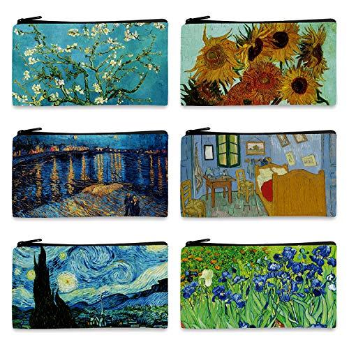 FM FM42 Van Gogh Paintings 6PCS Small Canvas Bag with Inner Lining Black Zipper 18cm10.5cm(7'4') Storage Pouch CA1001