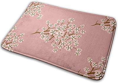 Decorative Doormat Home Decor Cherry Blossom Welcome Indoor Outdoor Entrance Bathroom Floor Mats Non Slip Washable Mat, 23.6 x 15.7 inch