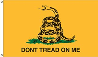 Valley Forge, Don't Tread On Me, Nylon, 3'x5', 100% Made in USA, Canvas Header, Heavy-Duty Brass Grommets, Gadsden Historical Flag