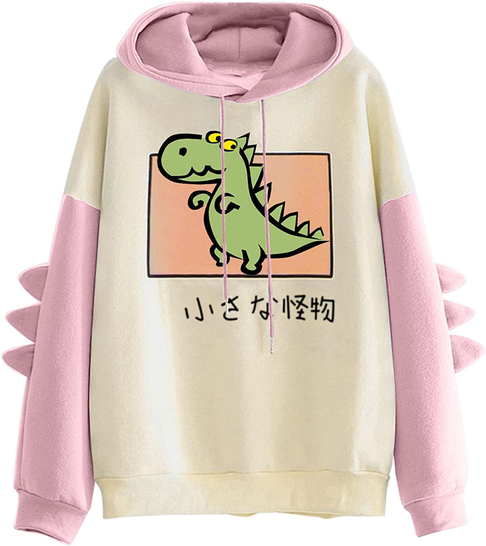 Dinosaur Hoodies Sweatshirt for Women Long Sleeve Splicing Tops Cute Cartoon Hoodies Teens Girls Casual Pullover