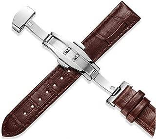 watchbands Grains Genuine Leather Watchbands 12 24mm Universal Watch Buckle Band Steel Buckle Strap Wrist Belt Bracelet + Tool-Brown-19mm
