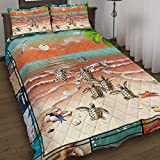 GEEMBI Quilt Bedding Set-Sea Turtles Quilt Bed Set MLH1197QS, King Size Coverlet for All Season-Soft Microfiber Bedspread+Pillows-Quilts Gifts (King,Queen,Twin)