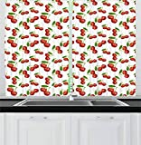 Ambesonne Fruit Kitchen Curtains, Cherry Pattern Design Fresh Berry Fruit Summer Green Garden Macro Digital Print, Window Drapes 2 Panel Set for Kitchen Cafe Decor, 55' X 39', Red Green White