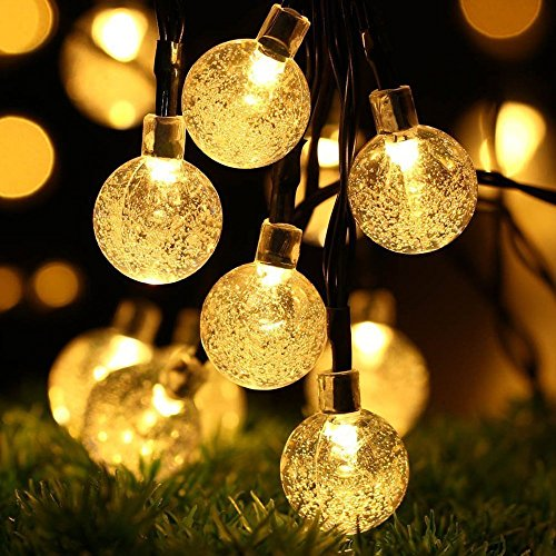 Solar Lichtslingers, DINOWIN Buiten feestverlichting 30LED solar lichtsnoer witte Kristallen bol 6 m - Buiten verlichting op zonne-energie - LED lampjes (Warm wit)