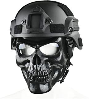 JFFCESTORE Skull Full Mask with Goggles and Fast Tactical Helmet/MICH 2000 Style ACH Helmet Combined for Airsoft Paintball CS Game Set
