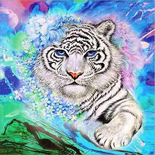 Navidad 5D DIY diamante pintura completos Kits Tigre blanco animal completo para adultos y niños Arte de diamante redondo perfecto para la relajación decoración de la pared del hogar 20x20cm A1127