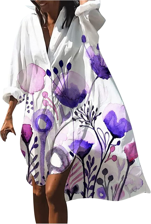 CofeeMO Women's Casual Loose Embroidery Printing Long Sleeve Shirt Mid-Length Dress534