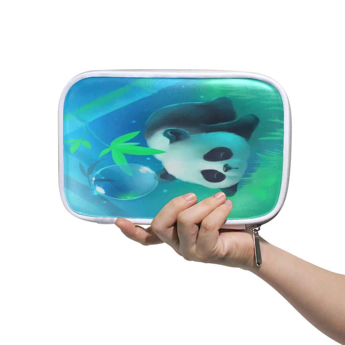 Panda - Estuche para lápices con burbujas de agua, estuche para lápices, bolsa de mano, bolsa de viaje de bambú para maquillaje, bolsa para pasaporte, almacenamiento para mujeres: Amazon.es: Oficina y papelería