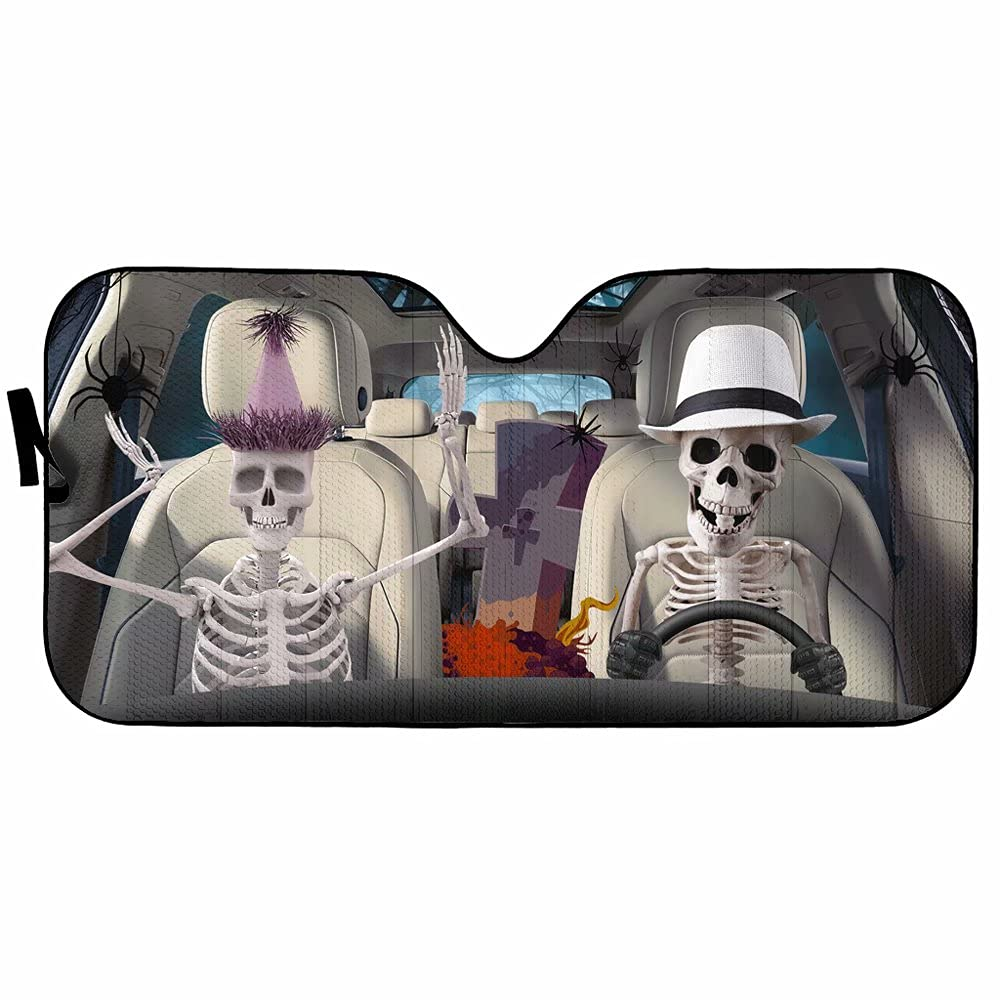 Funny Skeleton Driver Car Front Window Sun Shade,Couple Skull Auto Windshield Sunshiled Blocks Cross Universal Sunshade for Windshield,Folding Sun Protector Cover UV Rays Fit Most Car,SUV,Truck