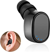 Single Mini Bluetooth Earbud Wireless Bluetooth Headset Earpiece Invisible in-Ear Headphone with Mic Hands-Free Call 6H Pl...