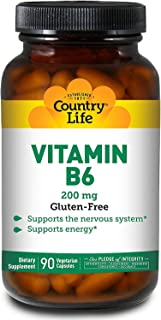 Country Life Vitamin B6-90 Vegan Capsules - Supports The Nervous System - Supports Energy