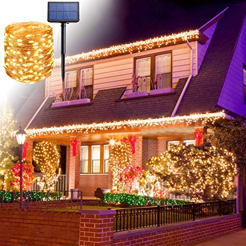 XTDGN 2 PCS Durable Solar Christmas Tree Lights,100 LED/200 LED Solar String Lights, Waterproof 8 Modes Fairy Lights for Yard Party, Christmas Decorations Indoor,Yellow,12M 100LED