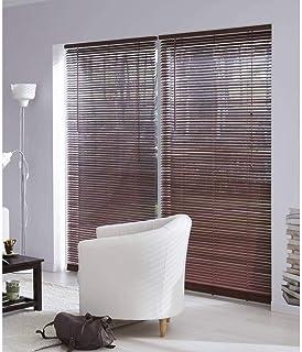 MADECO - Estor veneciano de madera de caoba, 27 mm, madera, marrón, 100 cm