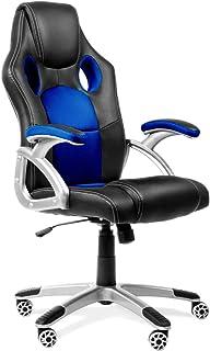 RACING - Silla gaming oficina color azul silla de escritorio racing ergonómica sillón de despacho giratorio con reposabraz...