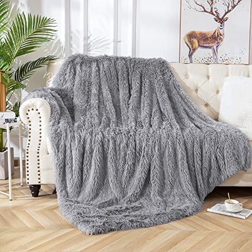 Vasofe Shaggy Sherpa Gray Blankets Fluffy Soft Fuzzy Faux Fur Throw Blanket for Sofa Couch Photo Props Home Decor Charcoal Grey Bed Throw Size