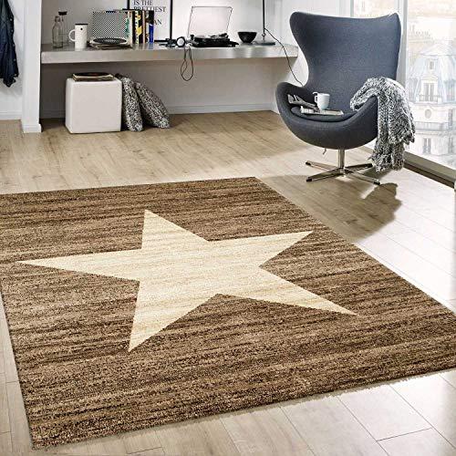 VIMODA Stern Muster Teppich Braun Beige Stylish Accessoire, Maße:120x170 cm