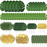 Giftown 72 Pieces 10 Kinds Artificial Palm Leaves Golden Tropical Leaves with Stems Jungle Leaves Decorations for Hawaiian Luau Party Beach Baby Shower Wedding Birthday Decorations